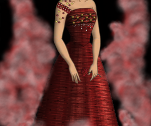 cartoon, red dress, and hunger games image