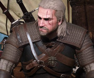 gerald, the witcher, and yennefer image