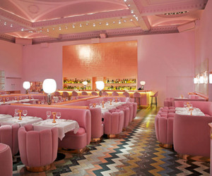 pink, restaurant, and cafe image