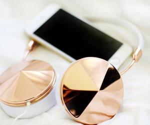 iphone, headphones, and gold image