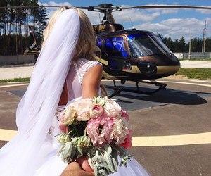 wedding, couple, and flowers image