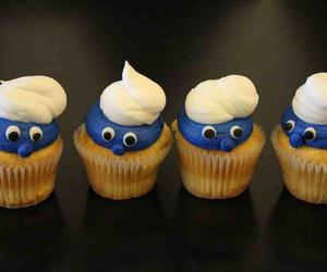 girl, smurfs, and cupcackes image