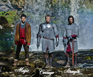 merlin, arthur pendragon, and sir gwaine image