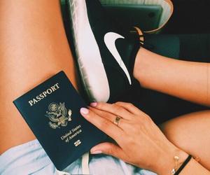 nike, passport, and travel image