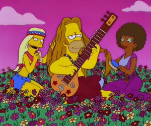 hippie, simpsons, and homer image