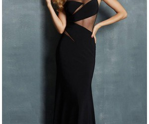 black evening gown and silk print dresses image