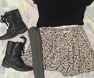 outfit, boots, and skirt image