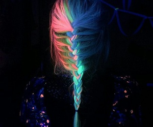 hair, neon, and braid image