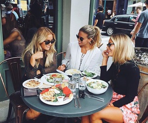 girls, blonde, and food image