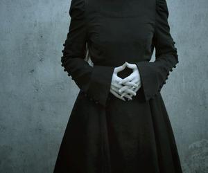 black dress, old woman, and royal image