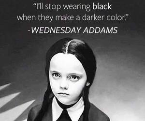 black, wednesday addams, and quote image