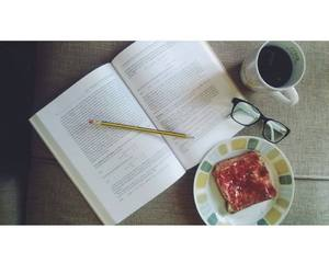 book, breakfast, and coffee image
