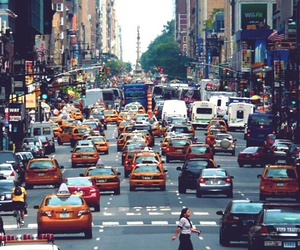 cars, crowded, and buildings image