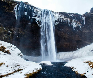 winter and waterfall image