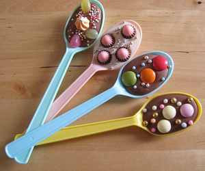 chocolate, spoon, and candy image