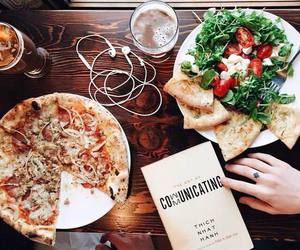 food, pizza, and salad image