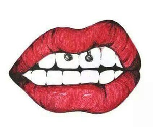 lips, red, and piercing image
