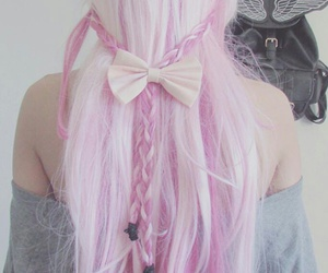 hair, pink, and bow image