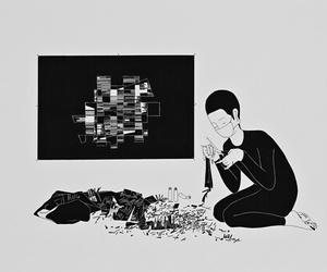 art, artist, and b&w image