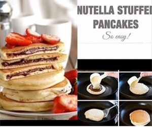pancakes, nutella, and food image