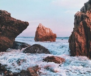 sea, ocean, and rock image