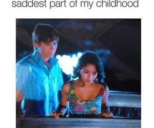 high school musical, childhood, and sad image