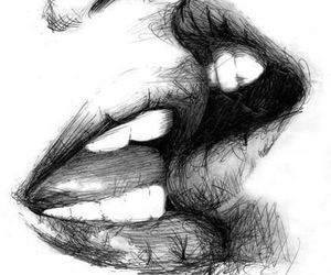kiss, lips, and drawing image