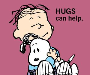 snoopy, hug, and peanuts image