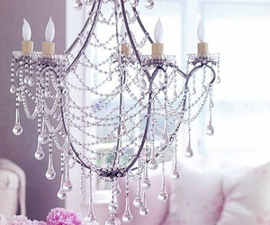 decor, pink, and chandelier image
