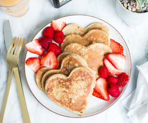 food, hearts, and pancakes image