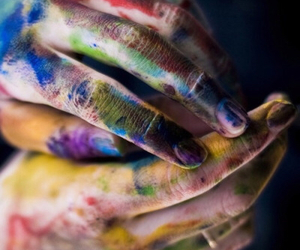 hands, colors, and art image