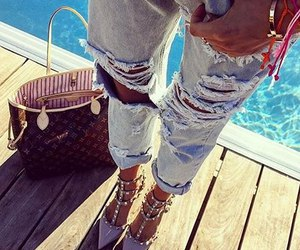 luxury, ripped jeans, and girly look image