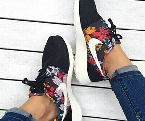 black, flowers, and nike image