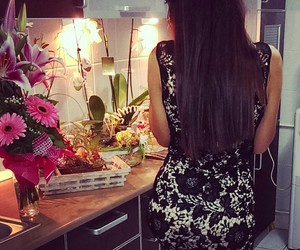 black dress, flowers, and long hair image