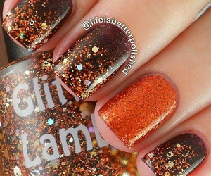 nails, glitter, and brown image
