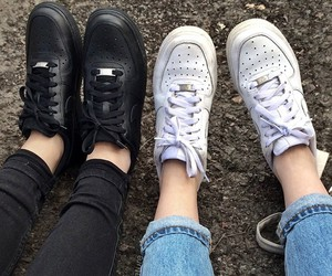 black, white, and shoes image