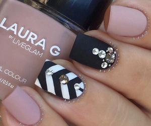 black and white, nails, and blush image