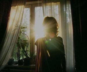 girl, sun, and window image