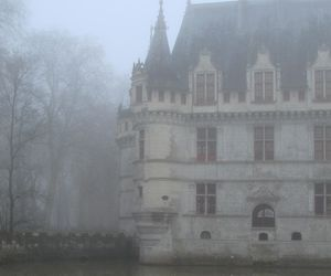 house, castle, and fog image