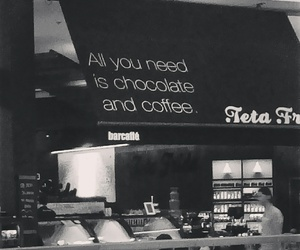 black and white, black coffee, and cafe image