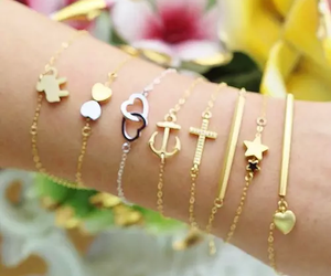 bracelet, cute, and gold image