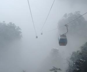 aerial, dark, and fog image
