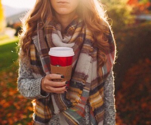 autumn, scarves, and curl hair image