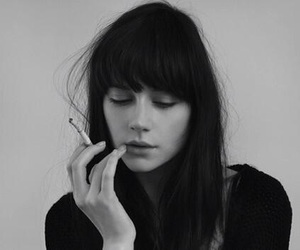girl, black and white, and cigarette image