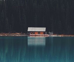 lake, forest, and house image