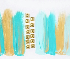 girly, blue, and gold image