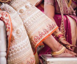 bride, sari, and wedding dress image