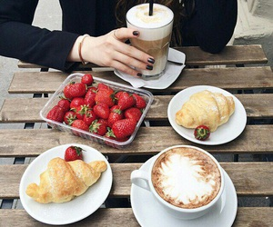 coffee, strawberry, and croissant image