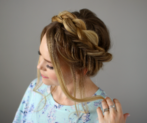 hairstyle, updo, and half updo image