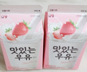 milk, pink, and food image